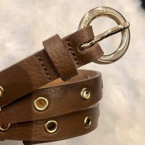 """NEW MICHAEL KORS 1/2"""" Brown Leather Belt w/ gold"""